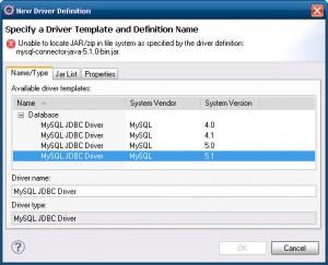 Selecionando o driver JDBC do MySQL