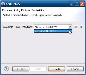 Seleção da configuração do MySQL em Available Driver Definitions