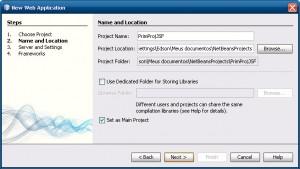 Nome do Projeto e Localização na Criação do Projeto no NetBeans IDE