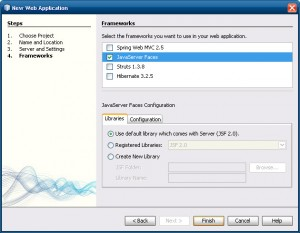 Selecionando o Framework JSF 2.0