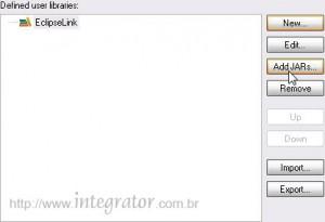 Caixa de diálogo Preferences - botão Add JARs