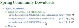 Download do Spring Framework em sua página oficial