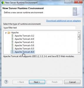 Selecionando o Apache Tomcat v6.0 para adicionar a ferramenta