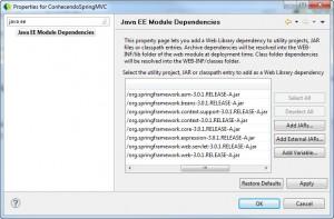 Bibliotecas do Spring Framework adicionadas ao projeto