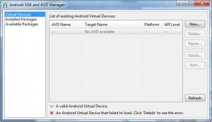 Figura 14 – A Virtual Devices do AVD Manager