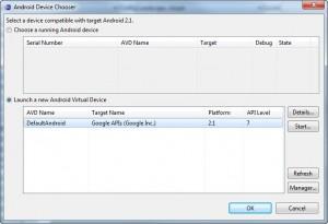 Figura 17 – Selecionando o dispositivo virtual criado para rodar o aplicativo