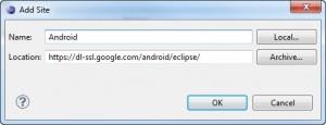 Figura 4 – Adicionando o link para baixar o plugin do Android