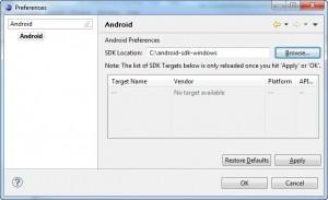 Figura 7 – Configurando a localização do Android SDK