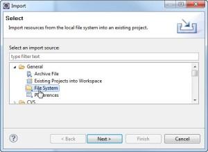 Figura 11 – Caixa de diálogo Import com General>File System selecionado