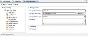 Figura 18 – O arquivo faces-config.xml com o managed bean textoBean configurado