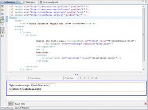 Figura 22 – Página richfaces.jsp no editor visual e de códigos do JBoss Tools