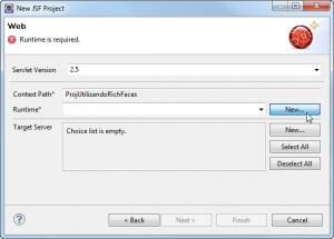 Figura 4 – Selecionando um novo servidor para rodar a aplicação