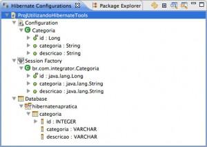 Figura 22 – A view Hibernate Configurations após as configurações do arquivo hibernate.cfg.xml