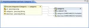 Figura 24 – Visualizando a classe Categoria mapeada para a tabela correspondente no banco de dados