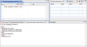 Figura 29 – Editor HQL em ação e a view Hibernate Dynamic SQL Preview exibindo a SQL gerada
