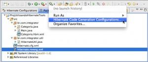 Figura 41 – Menu Run As com a opção Hibernate Code Generation Configurations