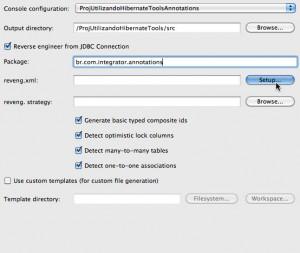 Figura 43 – Configuração inicial da aba Main em Hibernate Code Generation Configurations