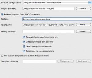 Figura 46 – Aba Main do diálogo Hibernate Code Generation Configurations preenchido