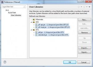 Figura 7 – Bibliotecas de usuário JSF2 e JSTL criadas
