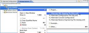 Figure 9 – Seleção do item Hibernate XML Mapping file (hbm.xml) no menu de contexto
