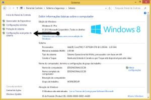 Painel de Controle do Windows 8 em Sistema e Segurança